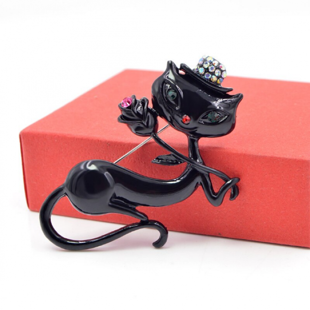 Black Enamel Cat Holding Flower