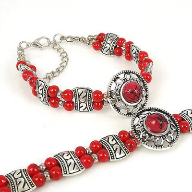 Natural-stone-Beads-Bracelet-red